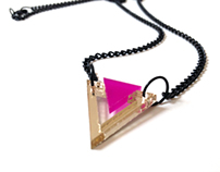Mini Gold&Pink Triangle Necklace