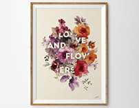 Love and Flowers Typographic Poster