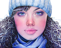 Winter Girl, Colored Pencil 2014