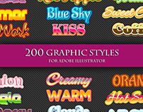 200 Graphic Styles for Adobe Illustrator.