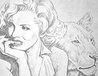 Marilyn Monroe with Lion - drawing by S. Fairbanks