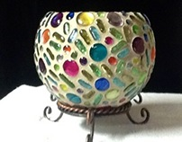 Colorful Hand Painted Glass Bead Candle Holder #161