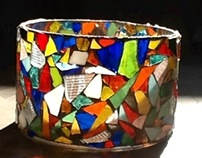 Gorgeous Stain Glass Candle holder or plant holder #162