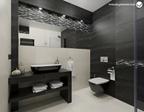 Small 5m2 Bathroom With Ergon Falda Black & White Tiles