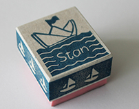 Personalized kids stamps, 100% handmade and hand carved