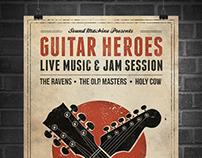 Guitar Heroes - Vintage Music Poster/Flyer