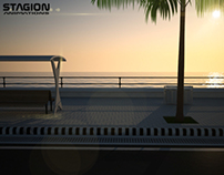 3D Rendering of Sunset at a Sea Face