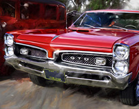 Classic Detroit Vintage Car Paintings