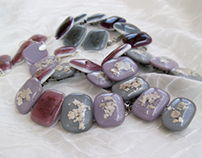 Fused glass bracelets with Mica flakes inclusions