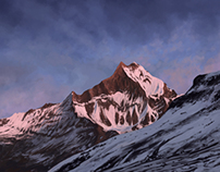 Nepal pink mountain