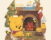Winnie the Pooh & Friends - Winter Illustration