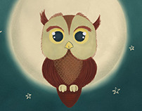Owl on the moon by night
