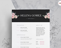Black Floral Theme Resume Template