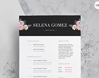 Black Floral Theme Resume Template