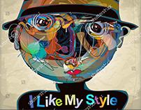 ''strange boy I.'' colorful imaginative kid portrait