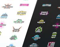 Set of colorful music equalizer logos
