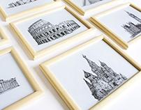 Dem Landmarks Illustrations