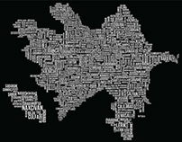 Azerbaijan Map in Typography