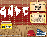 Groove Nation Dance Crew Audition Flyer 2015