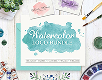 Watercolor logos collection