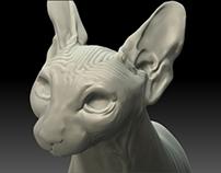 WIP. Escultura digital, gato esfinge