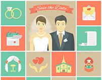 Wedding Icons Square Set