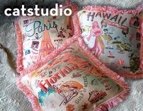 catstudio vintage style souvenir pillows on behance