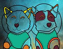"Illustration ""Soviet space dogs Belka and Strelka"""