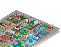 DIgital Illustration - 9 block city