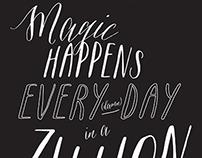 Magic Happens Calligraphy Poster