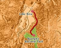 Animation Map from Lake Kivu to Nyungwe National Park