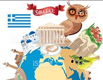 CARTOON MAP OF GREECE