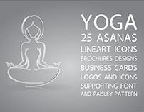 Yoga Center Design Elements Set