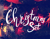 Christmas set greeting cards and design elements