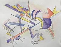 Watercolour Kandinsky's inspired illustration