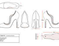Technical Drawings of Shoe and Purse