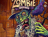 Zombie Whiskey bottle label design