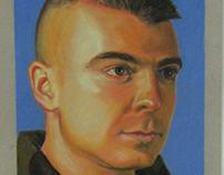 Chalk pastel of fellow Marine