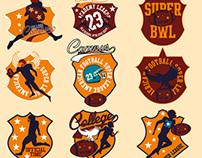 american football embroidery badge vector art