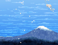 Landscape with Mount Fuji and Sakura