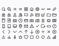 Thin Round & Straight Icon Set