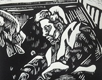 On the train Linocut