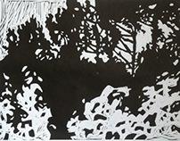Linocut Landscape