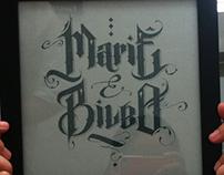 Canvas Mariê & Bilbo, Gothic letters.
