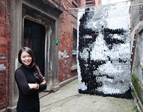 Zhang Yimou portrait made of bamboo sticks, pins and...