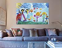 100 x 150 cm canvas van tekening