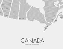 Typographic Canada Map
