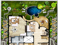 villa 2D Photoshop Plan