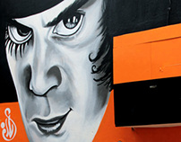 """Alex"" graffiti portrait for ""Kubrick"" cafe - bar"