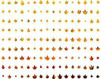 Color Spectrum of Maple Leaves in Fall